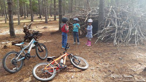 AWOL kids bike teepee building