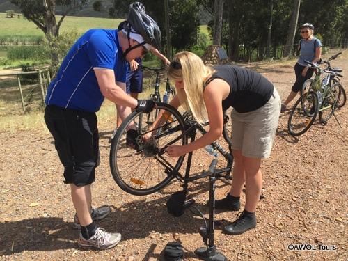 Cycling Garden Route fixing tyre