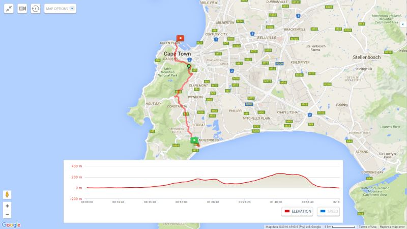 Waterfront to Constantia greenbelt cycling route