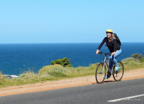 AWOL German tour guide Meike cycling in Cape Point