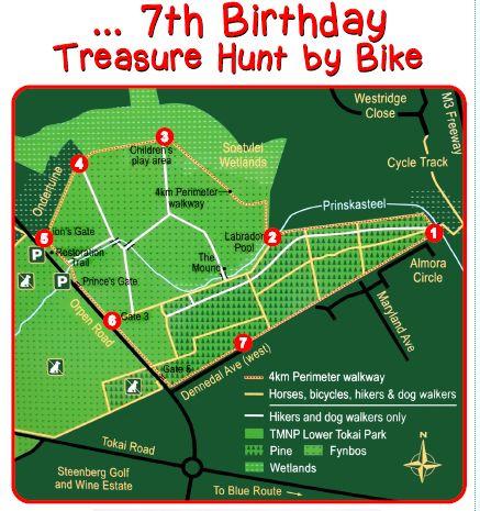 kids bike birthday party treasure map